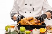 Cooking Baked Duck In Peking By Cook Hands, Cooking Ingredients On Kitchen Table White Background. C poster