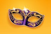 Shining Diamonds On Carnival Mask. Colombina Face Cover For Masquerade Or Costume Party. Man And Wom poster