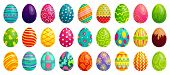 Easter Eggs. Spring Colorful Chocolate Egg, Cute Colored Patterns And Happy Easter Decoration Cartoo poster