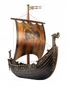 stock photo of viking ship  - Antique Viking Ship Model isolated on white - JPG