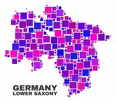 Mosaic Lower Saxony Land Map Isolated On A White Background. Vector Geographic Abstraction In Pink A poster