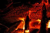 Burning Log Of Wood Close-up As Abstract Background. The Hot Embers Of Burning Wood Log Fire. Firewo poster