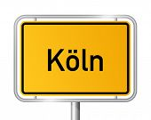 City limit sign COLOGNE / KÃ?LN against white background - federal state of North Rhine Westphalia / Nordrhein Westfalen