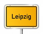 City limit sign LEIPZIG against white background - federal state of Saxony / Sachsen