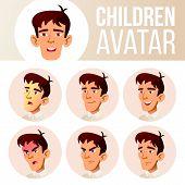 Asian Boy Avatar Set Kid Vector. High School. Face Emotions. Emotions, Emotional. Casual, Friend. Ca poster