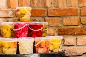 Food Preserving For Autumn Winter Time. Jars With Pickled Vegetables In Cellar poster