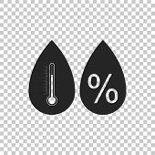 Humidity Icon Isolated On Transparent Background. Weather And Meteorology, Thermometer Symbol. Flat  poster