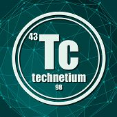 Technetium Chemical Element. Sign With Atomic Number And Atomic Weight. Chemical Element Of Periodic poster