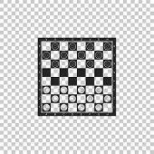 Board Game Of Checkers Icon Isolated On Transparent Background. Ancient Intellectual Board Game. Che poster