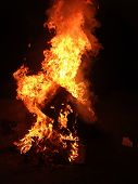 A Huge Column Of Flames On A Black Background