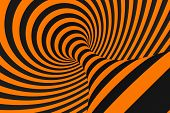 Tunnel Optical 3d Illusion Raster Illustration. Contrast Lines Background. Hypnotic Stripes Ornament poster