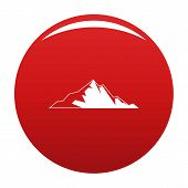 Nice Mountain Icon. Simple Illustration Of Nice Mountain Vector Icon For Any Design Red poster