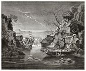 The deluge old pictorial representation. Created by Frere after painting by Poussin kept in Louvre m
