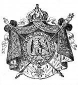 das alte Wappen der französischen Republik. Stich von Alwin Zschiesche veröffentlicht am