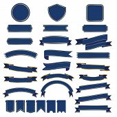 Set Of Blue Ribbon Baner Icon,ribbon Banner And Arch Banner On White Background, Ribbon  Has Gold Tr poster