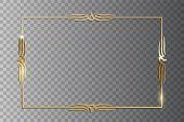 Golden Shiny Retro Frame Isolated On Transparent Background. Vector Vintage Design Element. poster