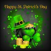 St. Patrick Day Poster. Patrick`s Day Hat And Clover Design Elements With Wishing Lettering And Trea poster
