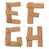 Rustic Wooden Font Alphabet Letters IJKLM