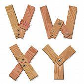 Rustic Wooden Font Alphabet Letters VWXY