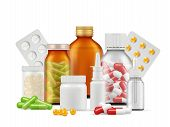 Medical Bottles And Pills. Medications Aspirin Antibiotic Drugs Tablets Vector Realistic Health Care poster