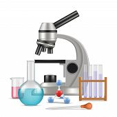 Science Laboratory 3d. Biology Physics Items For Tests And Experiments In Lab Microscope Glass Tubes poster