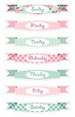 Days Of Week Banners As Retro Festive Ribbons In Shabby Chic Style poster