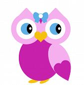 Vector Female Pink Owl with Bow