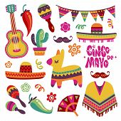 Mexican Fiesta Set. Cinco De Mayo Party Elements Sombrero, Pinata And Chili Pepper, Guitar Vector Co poster