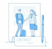 Electronic Signature Concept. Businessman Lawyer Contract Meeting Handshaking. Finance Investments,  poster