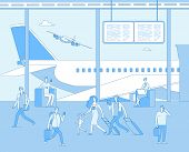 Airport Terminal. People Inside Airfield Airport. Man Woman Passenger In Comfort Lounges. Departure  poster