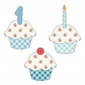 Set Of Cute Cupcakes As Textile Applique With Roses In Shabby Chic Style poster