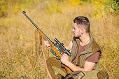 Man Charging Hunting Rifle. Hunting Equipment Concept. Hunting Hobby And Leisure. Hunter With Rifle  poster