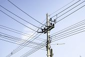 Transmission Line Of Electricity To Rural Field, Electricity Pole On Agriculture Area, High Voltage  poster