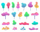 Flat Trees Set. Various Trees, Herbs And Shrubs In A Flat Style. Isolated Simple Cartoon Trees On Wh poster