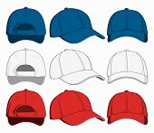 Set Of Baseball Caps, Front, Back And Side View. Vector Illustration poster