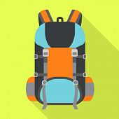 Hiking Backpack Icon. Flat Illustration Of Hiking Backpack Vector Icon For Web Design poster