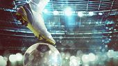 Close Up Of A Soccer Striker Ready To Kicks The Ball At The Stadium poster