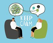 Keep Calm, Psychiatrist Listening And Counseling Patient, Healthcare Emotional, Therapy With Doctor. poster