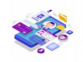 Isometric Personal Data Information App, Identity Private Concept. Digital Data Secure Banner. Biome poster