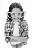 Kid Happy Lovely Feels Sympathy. Child Charming Smile Fall In Love. Girl Heart Shaped Eyeglasses Cel poster