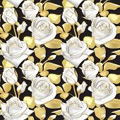 Flowers Roses On A Black Background. Vector Seamless Pattern. Floral Design In Oriental Style. Vinta poster