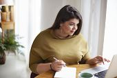 Indoor Shot Of Overweight Plus Size Beautiful Young Brunette Lady In Stylish Clothes Sitting At Desk poster