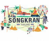 Songkran Festival Concept, People Playing Water Surrounded With Elephant ,thai Taxi, Thai Temple, Th poster
