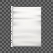 Realistic Detailed 3d Cellophane Business File And Paper. Vector poster