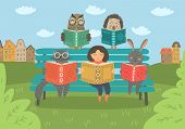 Girl With Animals Reading Book On The Bench Outdoors. Children Education, Reading Vector Illustratio poster