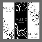 Set Of Abstract Banners With Black And White Music Key And Notes. Banner Template For Music Festive  poster
