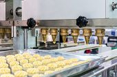 Close Up Dough Or Cream And Nozzle Discharge Of Automatic Biscuit Or Sweets Making Machine In Produc poster