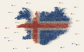 Large Group Of People Forming Iceland Map And National Flag In Social Media And Community Concept On poster