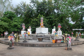 stock photo of phallus  - Monement with lot of phalluses on the hill Doitong in Chiang Rai Thailand - JPG