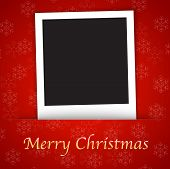 Merry Christmas Card Template With Blank Photo Frame On The Red Background